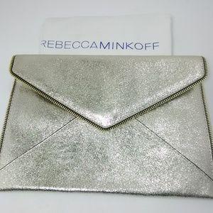New REBECCA MINKOFF Gold Metallic LEO Clutch Bag